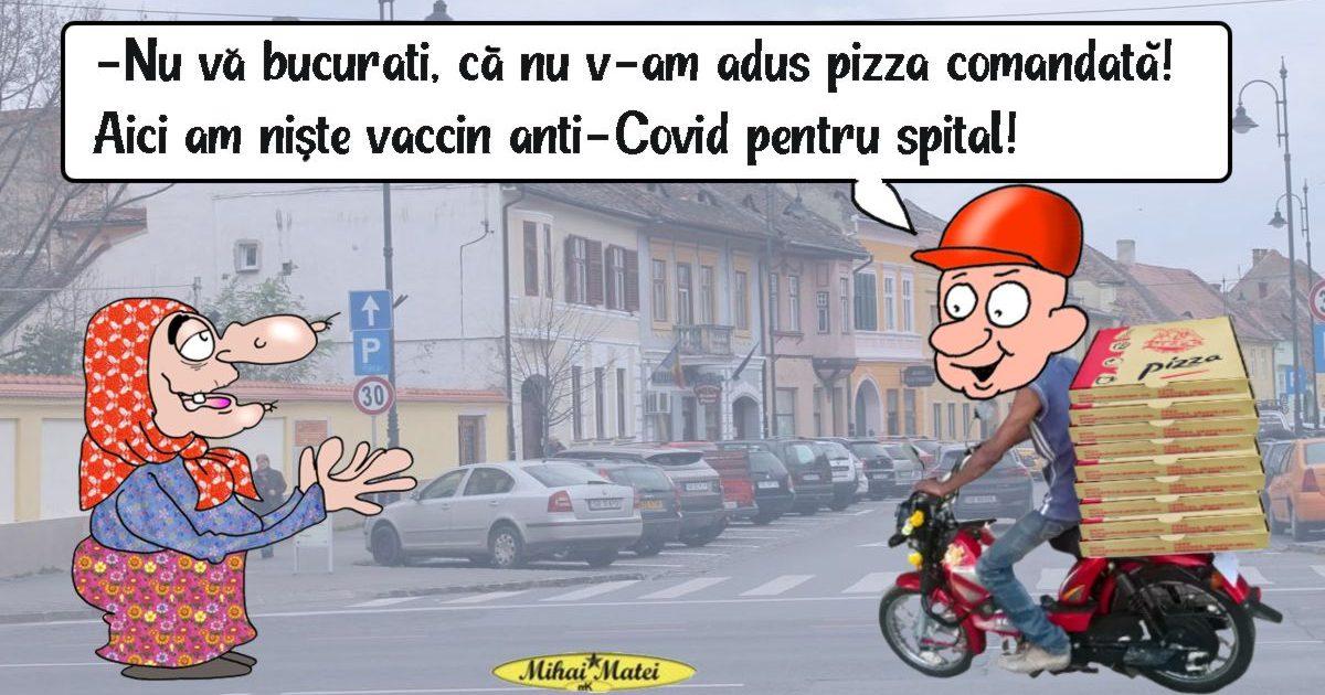 Vaccinul anti-Covid a fost livrat la Spitalul Județean de Urgență Slobozia în cutii de pizza!